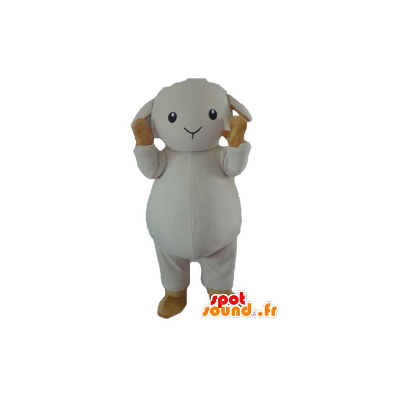 Mascotte de mouton, d'agneau blanc et marron - MASFR23189 - Mascottes Mouton