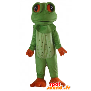 Mascot frog green and orange, very realistic