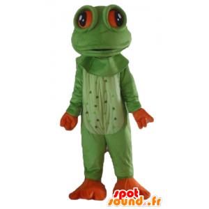 Mascotte de grenouille verte et orange, très réaliste
