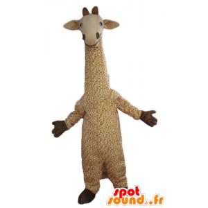 Mascotte de grande girafe beige et blanche, tachetée
