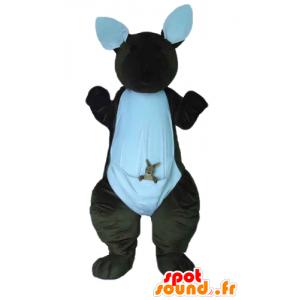 Canguru mascote marrom e branco com seu bebê