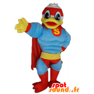 Μασκότ Donald Duck, διάσημη πάπια ντυμένος ως superhero