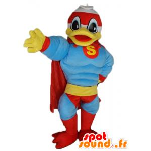 Donald Duck maskot, berömd anka, klädd som en superhjälte -