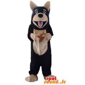Jättehundmaskot, svart och beige - Spotsound maskot