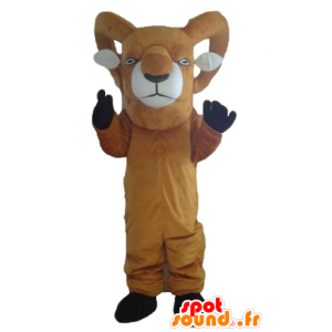 Mascot geit brun og hvit kjempe med store horn