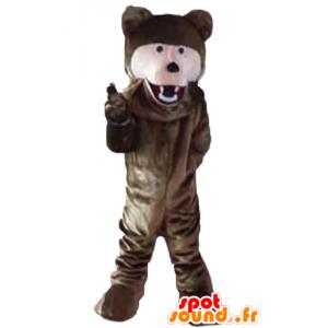 Mascot brunt og rosa bjørn giganten myk - MASFR23203 - bjørn Mascot