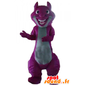 Mascot purple and gray squirrel, giant and colorful