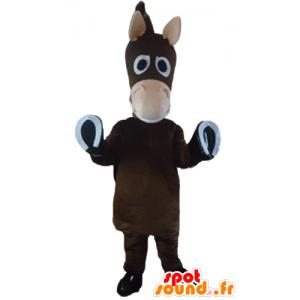 Mascotte caballo marrón, burro, potro, lindo y divertido - MASFR23205 - Caballo de mascotas