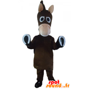Mascotte cavallo marrone, asino, puledro, carino e divertente - MASFR23205 - Cavallo mascotte