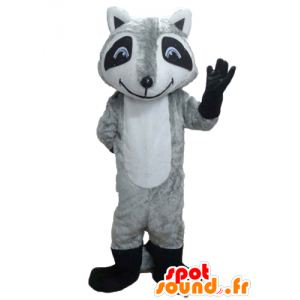 Tricolor raccoon mascot with blue eyes - MASFR23207 - Mascots of pups