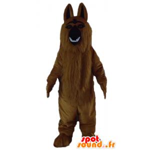 Ruskea koira maskotti bernhardinkoira kaikki karvainen ja realistiset - MASFR23209 - koira Maskotteja
