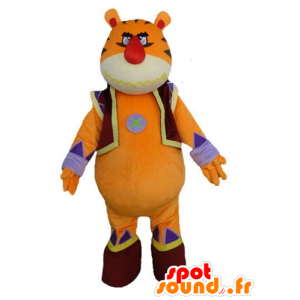 Tiger mascot, orange, yellow and blue, giant and impressive - MASFR23212 - Tiger mascots
