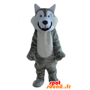 Grå og hvit ulv maskot, mykt og hårete - MASFR23213 - Wolf Maskoter