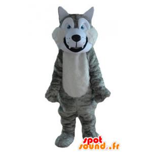 Grigio e bianco lupo mascotte, morbido e peloso - MASFR23213 - Mascotte lupo