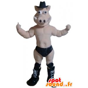 Mascote porco, javali, nu, com um deslizamento preto - MASFR23217 - mascotes porco