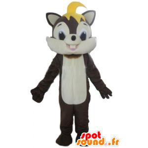 Mascot καφέ και λευκό σκίουρος, μαλακό και τριχωτά