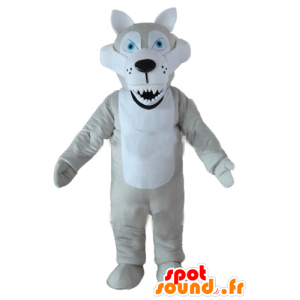Mascot wolf gray and white, with blue eyes and look mean - MASFR23220 - Mascots Wolf