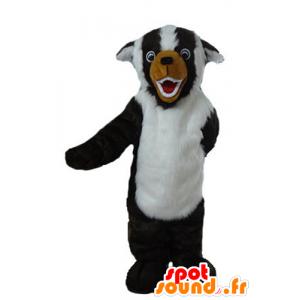 Black Dog Mascot, branco e marrom, todo peludo - MASFR23222 - Mascotes cão
