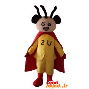 黄色と赤の服を着アフリカ系アメリカ人のスーパーヒーローのマスコット