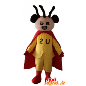 African-American superhero mascot dressed in yellow and red