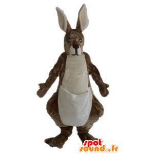 Canguru mascote castanho e branco, gigante, macio e cabeludo