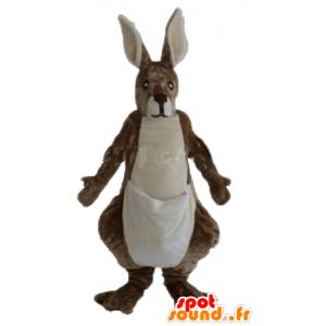 Hnědé a bílé klokan maskot, obří, jemná a chlupatá
