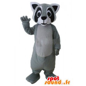 Raccoon mascot gray, black and white, very realistic - MASFR23231 - Mascots of pups
