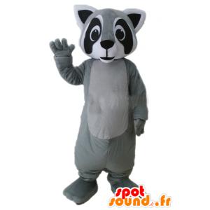 Raccoon Maskottchen grau, schwarz und weiß, sehr realistisch - MASFR23231 - Maskottchen von pups