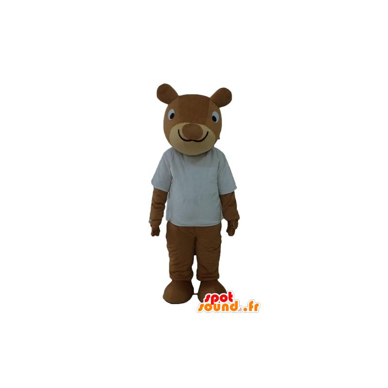 Mascotte bruine eekhoorn, lachend, met wit overhemd - MASFR23234 - mascottes Squirrel