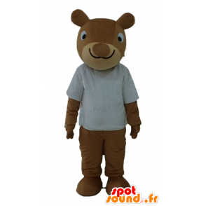 Mascot brown squirrel, smiling, with white shirt - MASFR23234 - Mascots squirrel