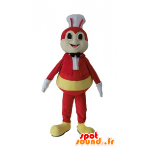 Fly mascot, yellow and red bug with a toque - MASFR23235 - Mascots insect