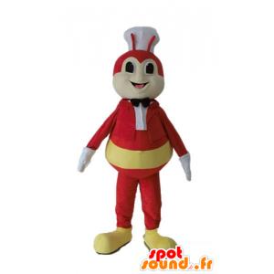 Fly maskot, gul og rød bug med en toque - MASFR23235 - Maskoter Insect