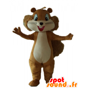 Mascot καφέ και μπεζ σκίουρος, χαμογελαστά και τριχωτά