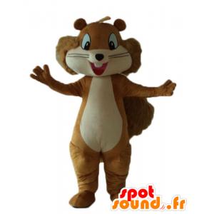 Maskotti ruskean ja beigen orava, hymyilevä ja karvainen
