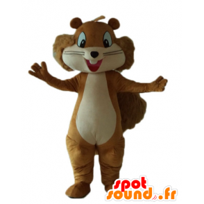 Mascot brown and beige squirrel, smiling and hairy - MASFR23239 - Mascots squirrel