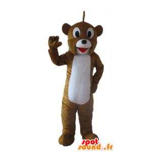 Brun og hvid bjørnemaskot, venlig og smilende - Spotsound