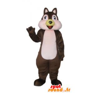 Maskotti ruskea ja pinkki orava, Tic Tac tai