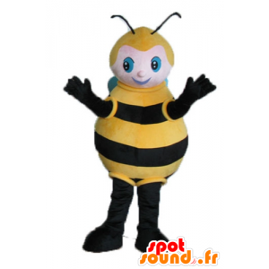 Mascot big black bee, yellow and blue - MASFR23242 - Mascots bee