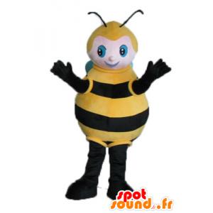 Mascotte grote zwarte bij, geel en blauw - MASFR23242 - Bee Mascot
