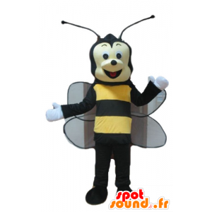 Mascot bee, black and yellow wasp, smiling - MASFR23244 - Mascots bee