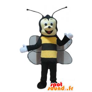 Maskottchen Biene, schwarz und gelb Wespe, lächelnd - MASFR23244 - Maskottchen Biene