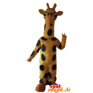 Maskot černé a žluté žirafy, vysoký, krásný