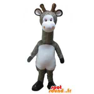 Mascotte de girafe grise et blanche, tachetée
