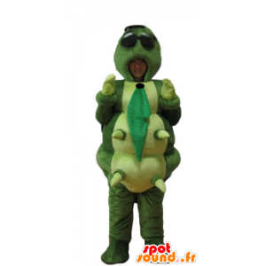 Mascot grande lagarta verde, laranja, amarelo e azul gigante - MASFR23249 - mascotes Insect