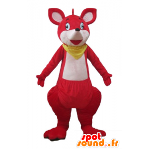 Red and white kangaroo mascot with a scarf