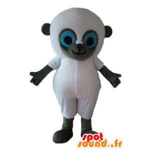 Mascotte de mouton blanc et gris, aux yeux bleus