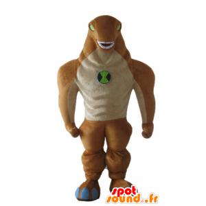 Mascot alien, monster, orange und beige Dinosaurier - MASFR23258 - Maskottchen-Dinosaurier