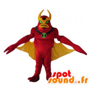 Mascot rood en geel robot speelgoed, vreemd