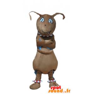 Mascotte de fourmi marron, géante et rigolote