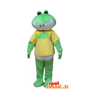 Green frog mascot, white and yellow